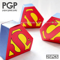 Wholesale Thank Boxes - [PGP] Superhero candy box, for Superman Themed Kids Boys 1st First Birthday Children's Day Party, Kids thanks gjft Decoration