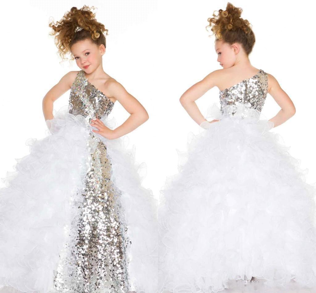 Sparky Sequined One Shoulder Ball Gown Flower Girl Dresses Puffy ...