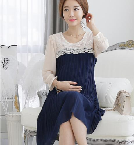 c713d62964c Pregnant Women Chiffon Dress 2015 Fashion Maternity Clothing for Pregnant  Women New Spring Long Sleeve Clothes