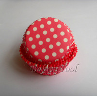 Wholesale Pink Cupcake Liners Polka Dot - free shipping 100pcs Bright Pink Polka Dot Cupcake Liners, Baking Paper Cups,Muffin Cases Cake Decoration