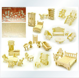 Wholesale Children Furniture Wholesale - Wholesale-Free shippping 3D puzzle wool Full set furniture Model building 34pcs Set Educational Children Toys Doll house Furniture TOY
