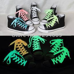 Wholesale Printed Shoelaces - Wholesale-2015 new 2pieces sports luminous shoelaces glow in the dark color fluorescent shoelace flat shoe laces 120cm 5colors HOT SALE !!