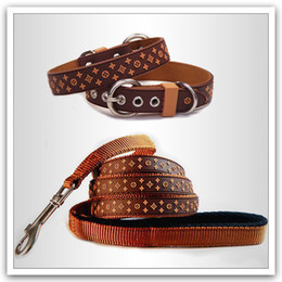 Wholesale-Pet Leash Brown Black Classical Designer Pet Collar Lead PVC Nylon Leather for Dog Set Collars Leashes Pet Product #PGLL85003