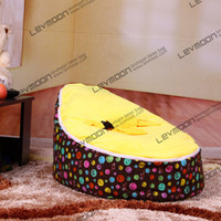 Wholesale Beans For Chair - Wholesale-FREE SHIPPING baby bag chair cover with smile prints and 2pcs up covers for no filler baby bean bags or kid bean bag chair