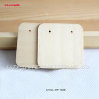 Wholesale Wooden Earring Blanks - Wholesale-(60pcs lot) Natural Wooden Earring Label Tags Jewelry Display Cards Jewelry Holder Blank Square Shape-CT1146B