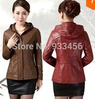 Wholesale Ladies Hooded Leather Jacket - Wholesale-2015 spring autumn new fashion leather jacket women plus size M-5XL ladies leather jacket coat 5XL mother clothing black