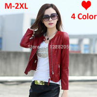 Wholesale Womens Motorcycle Jacket Xl - Wholesale-Hot Faux leather women coats womens leather jackets Spring zippers pu leather motorcycle jacket Moto blazer black red pink beige