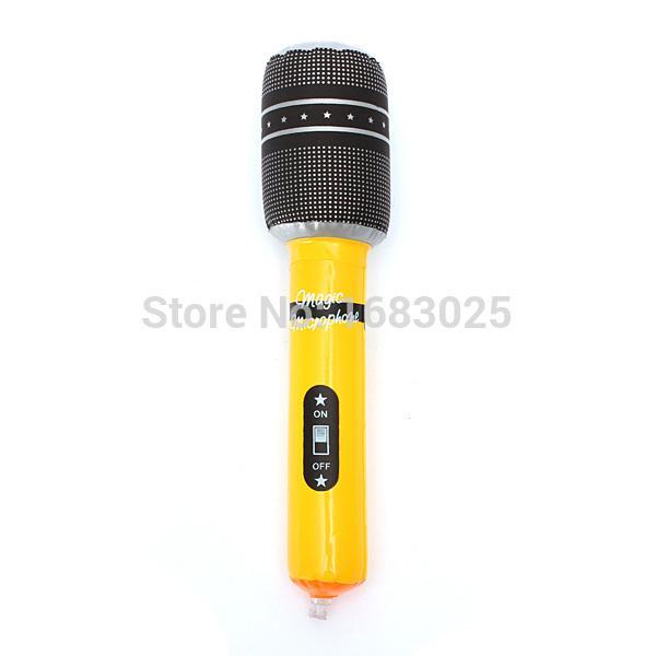 Großhandels-24CM aufblasbares Mikrofon sprengen Mic Musik-Henne-Hirsch-Partei-Bevorzugungs-Kinderspielzeug-Geschenk aufblasbares Mikrofon-Disco-Felsen-Spielzeug
