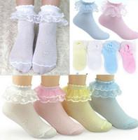 Wholesale Ladies Cotton Lace Socks - Wholesale-4Pairs Retro Lace Ruffle Frilly Ankle Short Socks Ladies Princess Girl socks