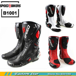 Wholesale Open Toe Red Boots - Wholesale-Fashion Motorcycle Boots SPEED Bikers Moto Racing Boots Protective Gear Motocross Leather Long Shoes B1001