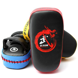 Wholesale Muay Thai Kick Boxing - Wholesale-New 3 Colors Thai Kick Boxing Strike Curved Arm Pad MMA Focus Muay Punch Shield Mitt