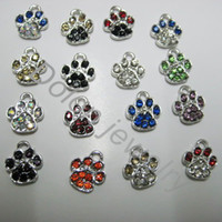 Wholesale Tiny Bracelet Charms - Wholesale-Mix Color 1cm Tiny Crystal Alloy Paw Charm fit for DIY Dog or Cat or Bear Pet Jewelry Bracelet DIY pendant