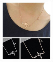 Wholesale Heart Beating Necklace Wholesale - Wholesale-New EKG Heart Beat Necklace Heartbeat Rhythm with Dangling Heart Womens Jewelry