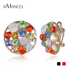 Wholesale black crystal clip earrings - Wholesale-Round shaped crystal earrings Spring 2015 new arrival eManco multicolor clip earrings for women fashion jewelry ER50348
