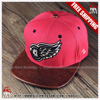 Wholesale Snapback Red Wing - 2015 NEW arrived NHL Leather hat,Detroit baseball cap,wings baseball Snapback,Red hockey hats,Ice hockey caps,Free Shipping