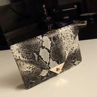 Wholesale Snake Skin Leather Wholesale - Wholesale-2015 Brand New Women's Synthetic Leather Snake Skin Envelope Bag Day Clutches Purse Evening Bag 34