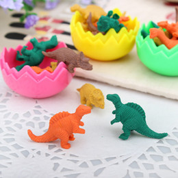 Wholesale Kids Stationery Gift Sets - Wholesale-24pcs Set Cartoon Dinosaur Eggs Eraser Korea Creative Stationery Erasers Kids Gift Cute Eraser borracha escolar WJ-XPC-39