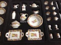 Wholesale Toys Tea Set - Wholesale-1:12 Cute MINI Dollhouse Miniature kitchen white china ceramic floral tea & dinnerware set 40 pcs