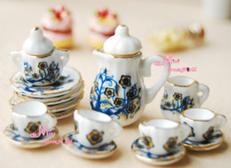 Wholesale Dollhouse Cups - Wholesale-Free Shipping~Lot of 15 Dark Blue Flower tree Dollhouse Miniature Porcelain Coffee Tea Cup Set ~Furniture Girls Gift toys