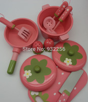 Wholesale Play House For Girls - Wholesale-2015 New Pink Pretend Play House Toys Girl Kitchen Cooking Starter Set Wooden Toy Brinquedos Meninas For Children Baby Toy