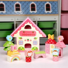 Wholesale Strawberry House Toy - Wholesale-mother garden wooden toy gift colorful blocks strawberry play house 19pcs set
