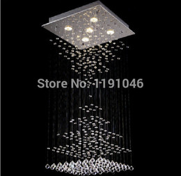 Wholesale Metal Ceiling Material - Wholesale-Chandeliers And Ceiling Hot Style L50*w50*h110cm K9 Squre Chandelier 5pcs Gu10 Spotlights Pendant Lamp Stainless Metal Material