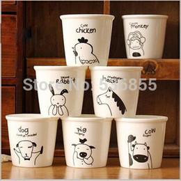 2019 керамические фигурки Wholesale-not paper cup, carton figure mini small ceramic twelve animals coffee mug, milk cup, drink ware,12 design (4 pcs/lot) дешево керамические фигурки