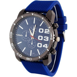 Wholesale Huge Silicone - Wholesale-New Free Shipping 6colors for Choice Stylish Luxury Huge Big Dial Silicone Band Quartz Wrist Watch Accurate