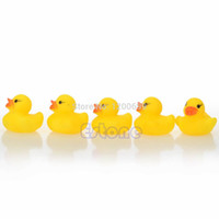 Wholesale Yellow Rubber Ducky Toy - Wholesale-hot -selling Lots Yellow Baby Children Bath Toys Cute Rubber Squeaky Duck Ducky 20Pcs free shipping