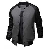 Wholesale Men S White Leather Jacket - Wholesale-Jacket Men New Arrival Bomber Jacket Fashion Single Breasted Pu Leather Patchwork Outdoor Jacket Brand Coat Jaqueta
