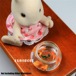 Wholesale Miniature Fish - Wholesale-Handmade Goldfish Fish Greenery In Glass Bowl Pond Miniature For Re-ment Orcara Miniature Toys Dolls Accessories