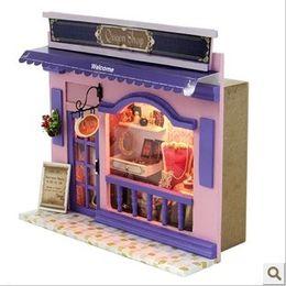 Wholesale mini model shop - Wholesale-Doll House Miniature Model Building Kits 3D Handmade Wooden Mini Dollhouse Greative Birstday Gift European Stores-Queen Shop