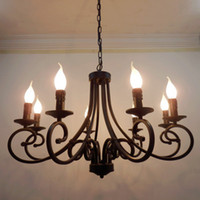 Wholesale Country Works - Wholesale-free shipping wrought iron chandelier candles classical 8 pieces e14 bulb chandeliers light fixture America country brief style