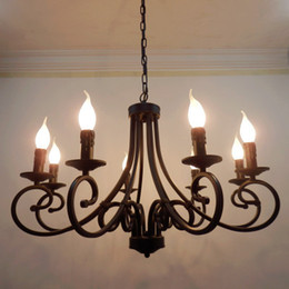 shipping wrought iron chandelier candles classical 8 pieces e14 bulb chandeliers light fixture - Wrought Iron Chandelier
