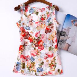 Wholesale Tank Top Printing China - Wholesale- Blusas Tank Tops Shirt Vest Camisole Chiffon Flower Print Cheap Women Clothes China Casual Sleeveless Camis Regata Feminina