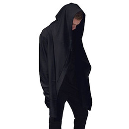 Черный трикотаж с капюшоном с капюшоном онлайн-Wholesale-Original Design Spring Autumn  Men's Sweatshirt Hoodie Men Hood Cardigan Mantissas Black Cloak Outerwear Oversize Vc0989