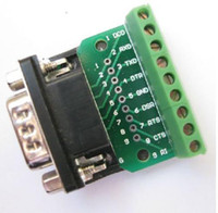 Wholesale Uart Adapter - Wholesale-DB9 D SUB Male Adapter Plate 9 Pin Terminal Breakout Board UART RS232 KF396232 Good and new