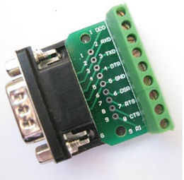 Wholesale Rs232 Uart - Wholesale-DB9 D SUB Male Adapter Plate 9 Pin Terminal Breakout Board UART RS232 KF396232 Good and new