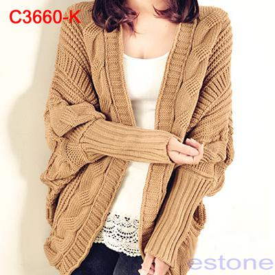 9dfdcc0920 Wholesale-Free Shipping Womens Oversized Knitted Cardigan Batwing Outwear  Casual Loose Sweater Coat Tops
