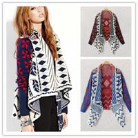Wholesale Clothing Shrugs - Wholesale-2015 Autumn Winter Geometric Pattern Women Knitted Coat Sweater Fashion Lady Cardigan Clothes Brand Shrug Poncho Knitwear
