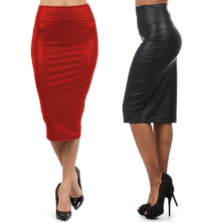 396f305552 2019 Wholesale NEW 2015 Quality Casual High Waisted Skirt Autumn Winter  Faux Leather Pencil Skirt Black Red Leather Skirt Saia M/L Long Skirt From  Masue, ...