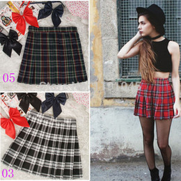 Wholesale Hot Women Short Skirts - Wholesale- 2017 Hot Midi Pleated Women Skirts High Waist Red A-Line Short Skirts Uniforms School Tartan Plaid Skirt Saias