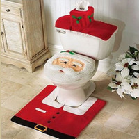 Wholesale Thermal Toilet Seats - Wholesale-Christmas Santa Claus Bathroom toilet seats cover mat -Toilet cover +contour rug + tank cover, thermal potty 3 piece set