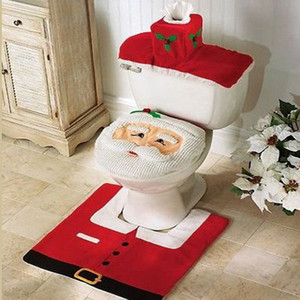 Wholesale-Christmas Santa Claus Bathroom toilet seats cover mat -Toilet cover +contour rug + tank cover, thermal potty 3 piece set