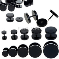 Wholesale Plugs Steel - Wholesale-15pc Black Fake Ear Plug Stud Stretcher Ear Tunnel Earring Piercing Stainless Steel Body Jewelry 6-14mm