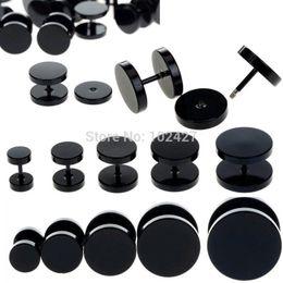 Ear strEtchEr Earrings online shopping - pc Black Fake Ear Plug Stud Stretcher Ear Tunnel Earring Piercing Stainless Steel Body Jewelry mm