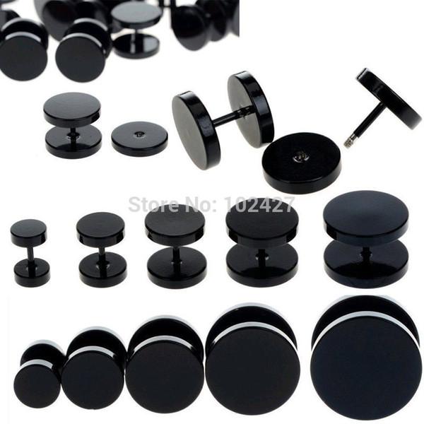 Wholesale-15pc Negro Fake Ear Plug Camilla Stud Ear Earnel Pendiente Piercing Cuerpo de acero inoxidable Joyería 6-14mm