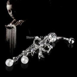Wholesale Belly Bar Bow - Wholesale-1pcs Newest Rhinestone Butterfly Bow Dangle Navel Belly Bar Button Ring Body Piercing ring Free Shipping
