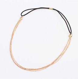 Wholesale Headband Parts - Wholesale-New gold Chain Head Women Boho parts chain Metal headband head hair jewelry wholesale Wedding Head Chains For Women Jewelry