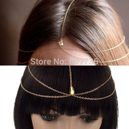 Wholesale Head Charms Hair Crystals - Wholesale-2015 New BOHO Gold 1pc Crystal Water Drop Pendant Forehead Headband Jewelry Charm Head Chain Women Headpiece Hair Accessories
